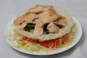 Sauteed Chicken with Vegetables in Nest