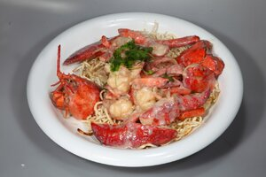 Lobster in Cream Butter Sauce with Noodles